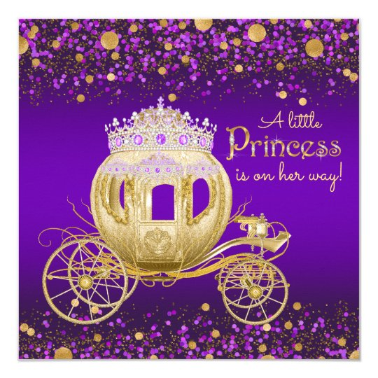 Purple And Gold Princess Carriage Baby Shower Invitation Zazzle