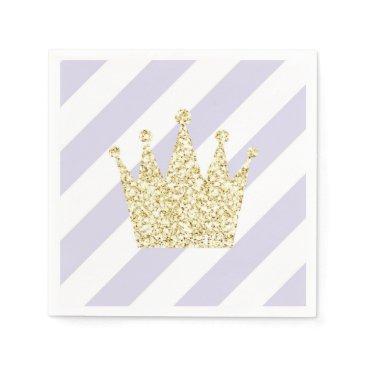 USA Themed Purple and Gold Princess Crown Napkins
