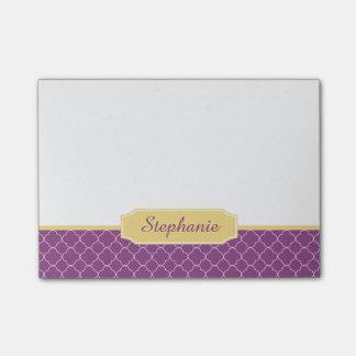 Purple and Gold Quatrefoil Monogram Post-it® Notes