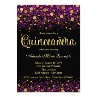 Purple and Gold Quinceanera Card