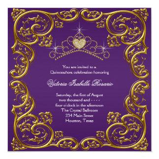 Purple and Gold Quinceanera Invitation