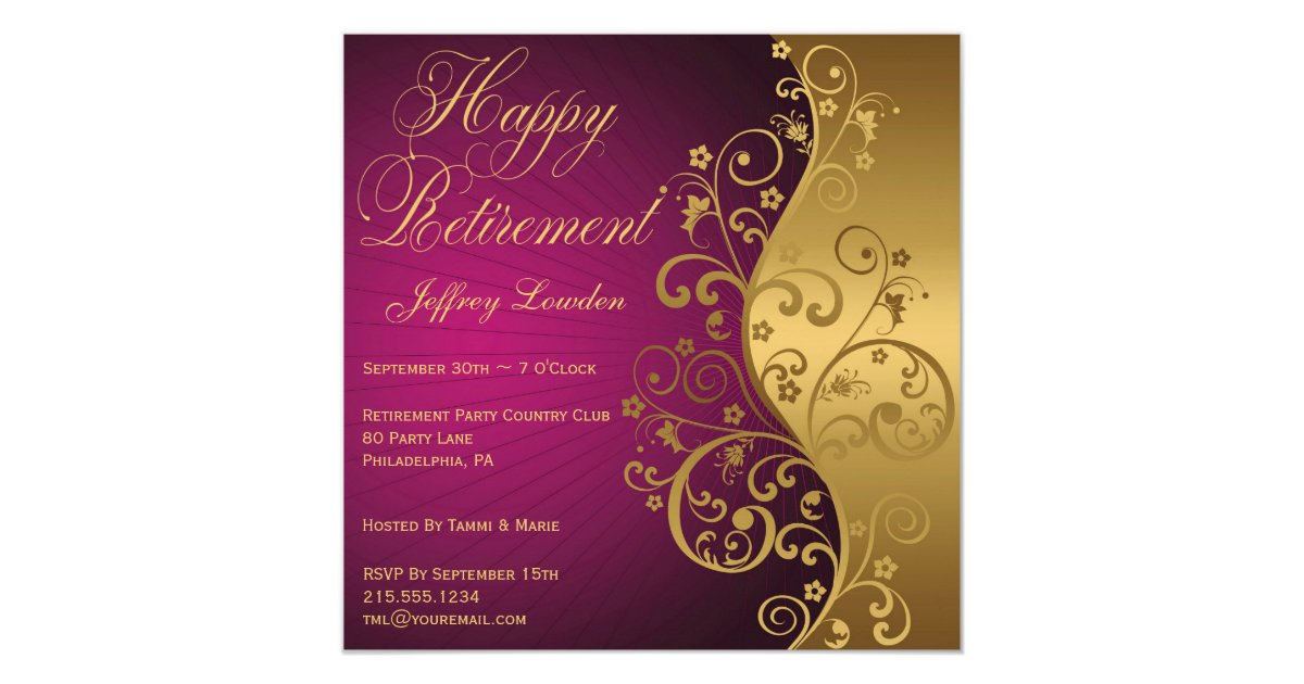 Purple And Gold Retirement Party Invitation