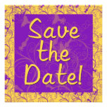 Purple and Gold Save the Date Cards Custom Announcements