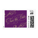 Purple and Gold Save the Date Postage