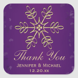 Purple and Gold Snowflake Thank You Label Square Sticker