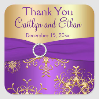 Purple and Gold Snowflakes Wedding Favor Sticker