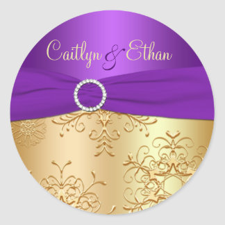 Purple and Gold Snowflakes Wedding Sticker