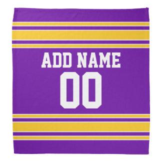 Purple and Gold Sports Jersey Custom Name Number Bandana