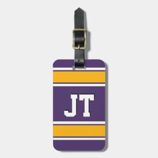 Purple and Gold Sports Stripes Monogram Bag Tag