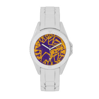 Purple and Gold Star Team Spirit Sports Colors LA Wrist Watch