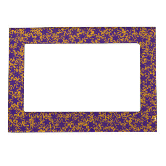 Purple and Gold Star Team Spirit Sports Colors Magnetic Picture Frame
