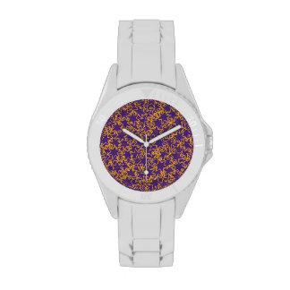Purple and Gold Star Team Spirit Sports Colors Wrist Watch