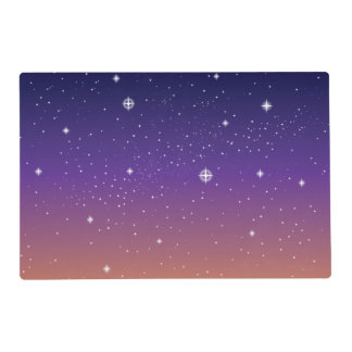Purple and Gold Starry Sunset Sky Placemat