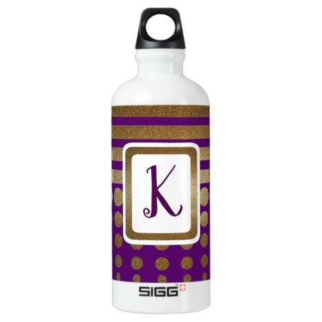 Purple and Gold Stripes and Dots Monogrammed Aluminum Water Bottle