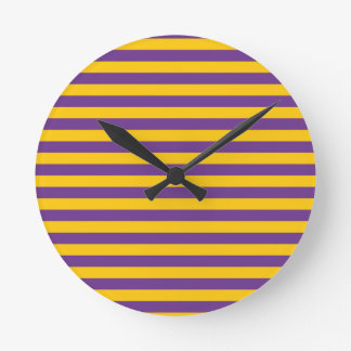 Purple and Gold Stripes Clock