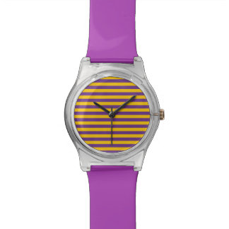 Purple and Gold Stripes Watch