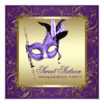 """Purple and Gold Sweet Sixteen Masquerade Party 5.25"""" Square Invitation Card"""
