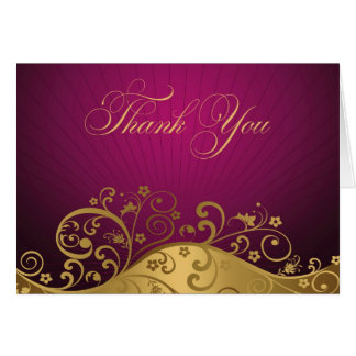 Purple and Gold Swirl Thank You Note Card