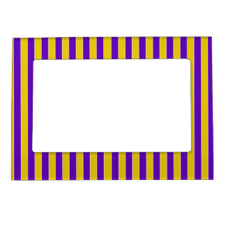 Purple And Gold Team or School Colors Magnetic Picture Frames