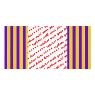 Purple And Gold Team or School Colors Custom Photo Card