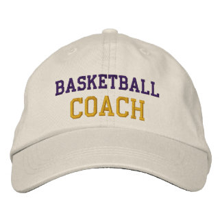 Purple and Gold Text Baskeball Coach Hat Embroidered Hats