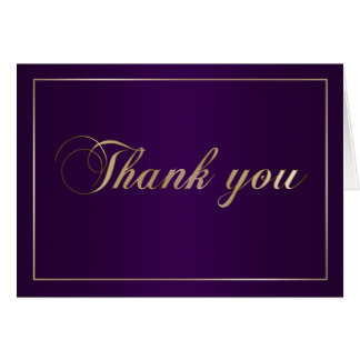 Purple and Gold Thank You Note Card