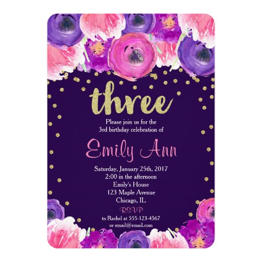 purple and gold third 3rd birthday invitation zazzle com