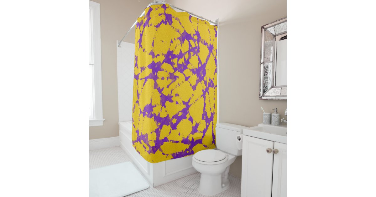 Purple And Gold Tie Dye Shower Curtain