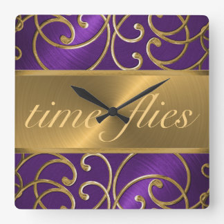 Purple and Gold Time Flies Clock