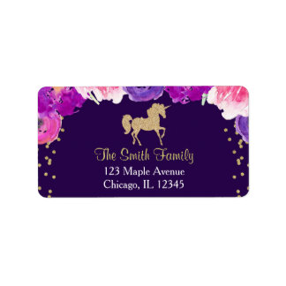 purple and gold unicorn return address labels