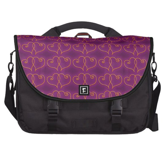 Purple and Gold Valentines Hearts Commuter Bags
