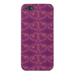 Purple and Gold Valentines Hearts iPhone 5 Cover