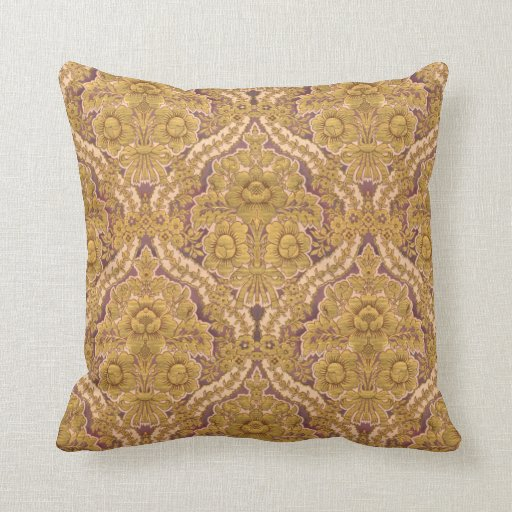 Victorian Floral Pillows : Purple and Gold Victorian Floral Damask Throw Pillow Zazzle