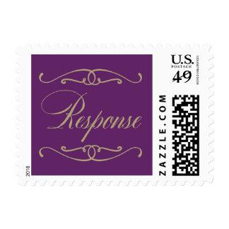 Purple and Gold Vintage RSVP stamp