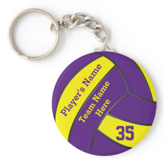 Purple and Gold Volleyball Keychains, PERSONALIZED Keychain