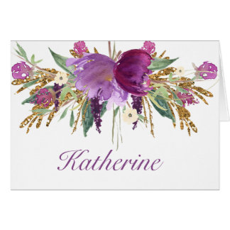 Purple and Gold Watercolor Flowers Notecards Card