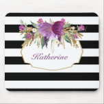 "Purple and Gold Watercolor Flowers Personalized Mouse Pad<br><div class=""desc"">Trendy mouse pad - black and white rugby stripes finished with purple and gold watercolor flowers.  Matching stationery available at Noteworthy Printables</div>"