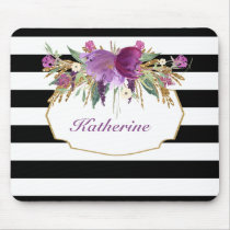 Purple and Gold Watercolor Flowers Personalized Mouse Pad