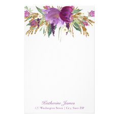 Purple And Gold Watercolor Flowers Personalized Stationery at Zazzle