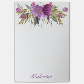 Purple and Gold Watercolor Flowers Post-it® Notes