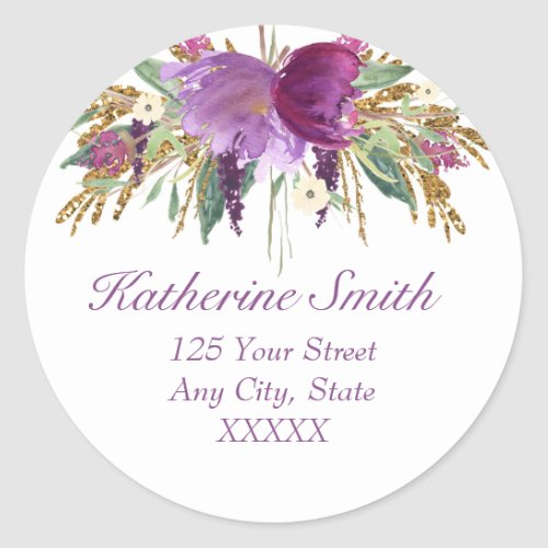 Purple and Gold Watercolor Flowers Return Address Classic Round Sticker