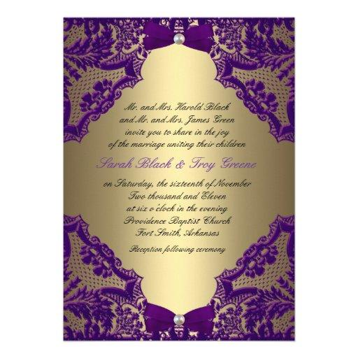 Purple And Gold Wedding Invitation 5 X 7 Invitation Card