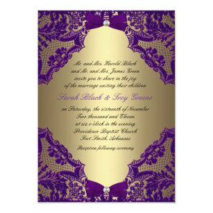 Purple and gold wedding invitations zazzle purple and gold wedding invitation filmwisefo