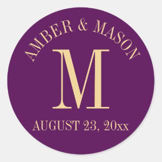Purple and Gold Wedding Monogram Classic Round Sticker