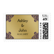 Purple and Gold Wedding Postage