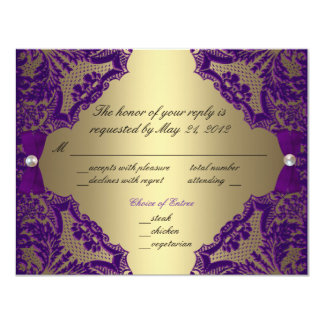 Purple and gold wedding invitations announcements zazzle purple and gold wedding rsvp card junglespirit Image collections