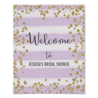 Purple and Gold Welcome Poster Print