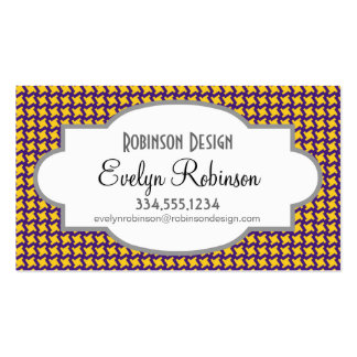 Purple and Gold Yellow Pinwheel Pattern Business Cards