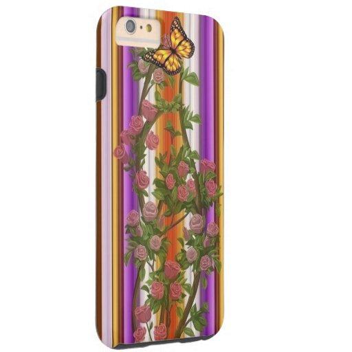 Purple and golden stripes with roses and butterfly tough iPhone 6 plus case