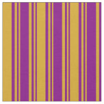 [ Thumbnail: Purple and Goldenrod Colored Pattern Fabric ]